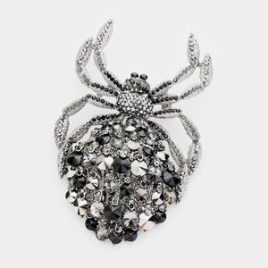 Jewelry - Black Crystal Oversized Pave Spider Brooch Pendant